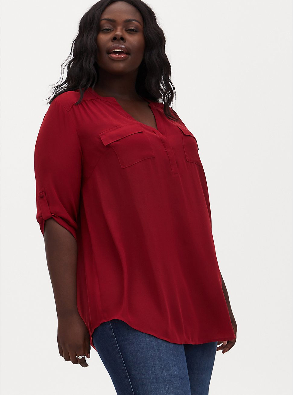 Harper - Dark Red Georgette Pullover Tunic Blouse, RED, hi-res