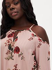Rose Floral Georgette Cold Shoulder Blouse, FLORALS-BROWN, alternate
