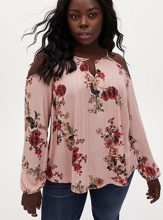 Rose Floral Georgette Cold Shoulder Blouse, FLORALS-BROWN, hi-res