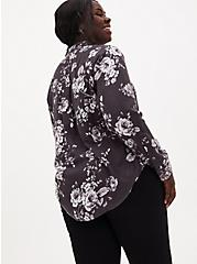 Dark Slate Gray Floral Brushed Button Front Relaxed Fit Shirt, FLORAL - GREY, alternate