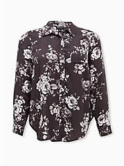 Dark Slate Gray Floral Brushed Button Front Relaxed Fit Shirt, FLORAL - GREY, hi-res