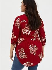Emma - Red Floral Crinkle Gauze Babydoll Tunic, FLORAL - RED, alternate