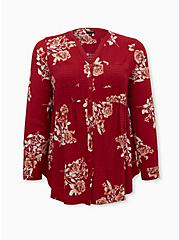 Emma - Red Floral Crinkle Gauze Babydoll Tunic, FLORAL - RED, hi-res