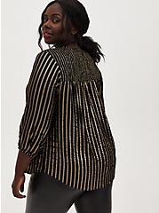 Black Stripe Gauze Flannel Smocked Blouse, STRIPES, alternate