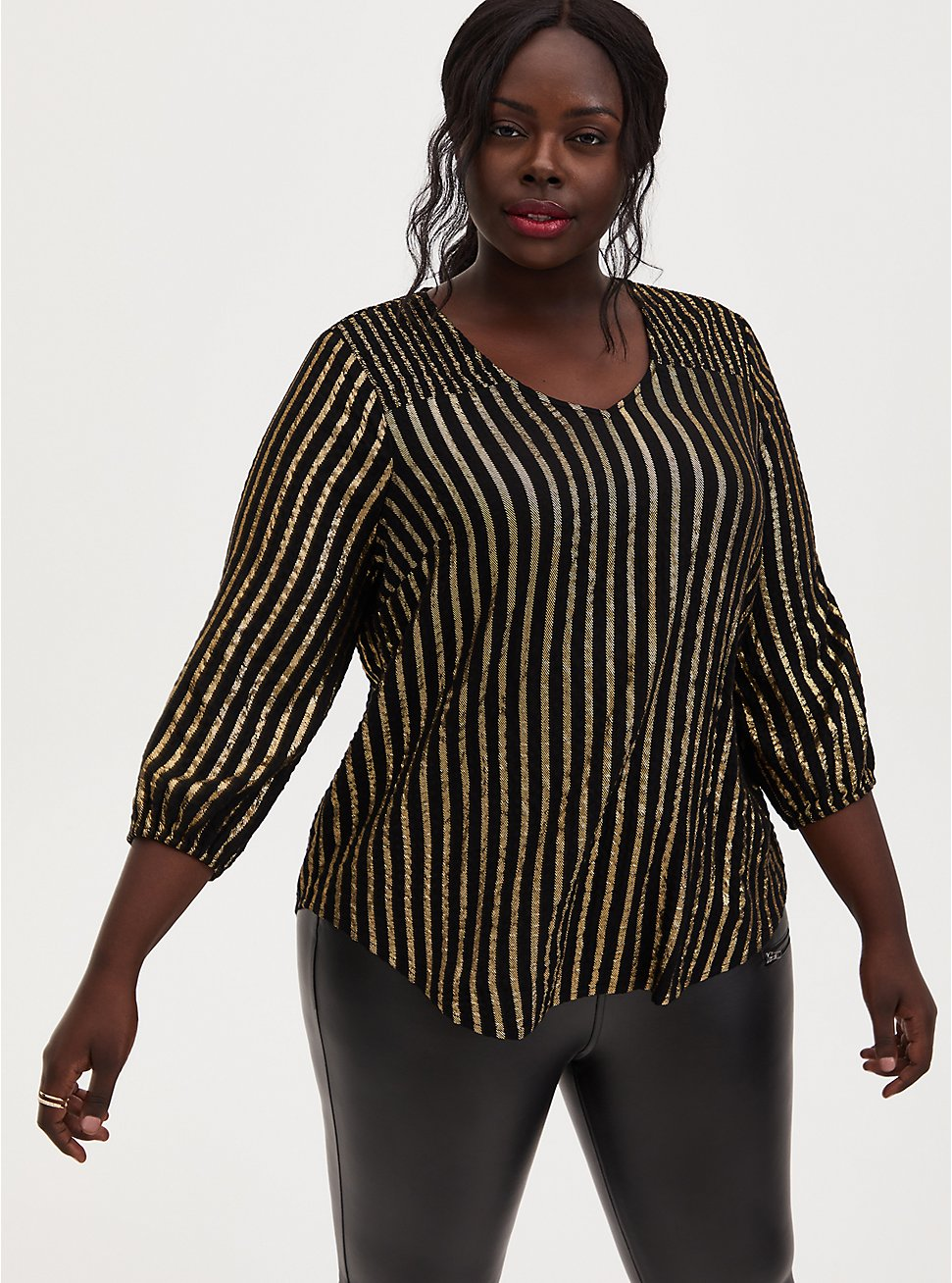 Black Stripe Gauze Flannel Smocked Blouse, STRIPES, hi-res