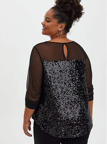 Plus Size Black Mesh & Sequin Blouse, DEEP BLACK, alternate