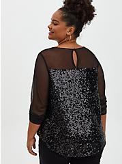 Black Mesh & Sequin Blouse, DEEP BLACK, alternate