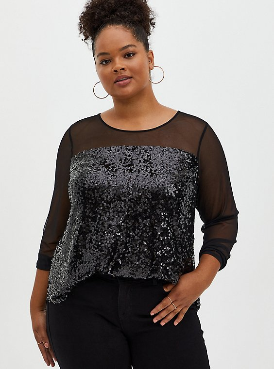 Plus Size Black Mesh & Sequin Blouse, DEEP BLACK, hi-res