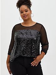 Black Mesh & Sequin Blouse, DEEP BLACK, hi-res