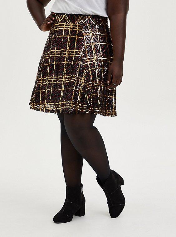 Multi Plaid Sequin Pleated Mini Skater Skirt, PLAID, hi-res