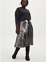 Metal Grey Liquid Shine Midi Skirt, NINE IRON, alternate