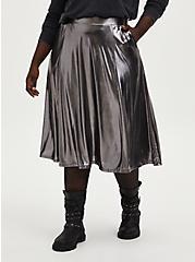 Metal Grey Liquid Shine Midi Skirt, NINE IRON, hi-res