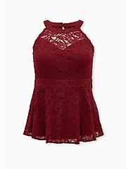 Red Allover Lace High Neck Peplum Top, RED, hi-res