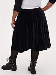 Black Velvet Pleated Midi Skirt, DEEP BLACK, alternate