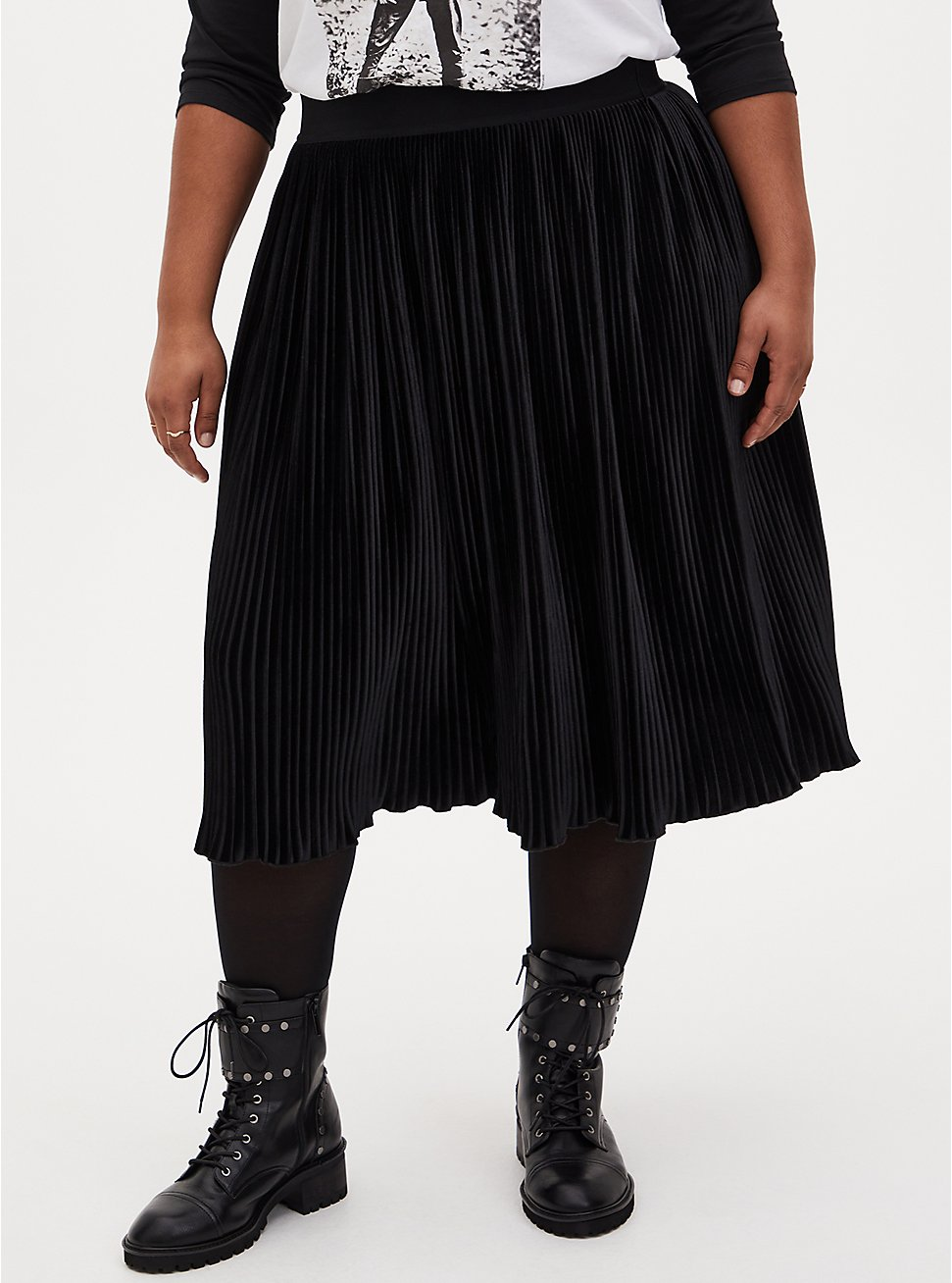 Black Velvet Pleated Midi Skirt, DEEP BLACK, hi-res