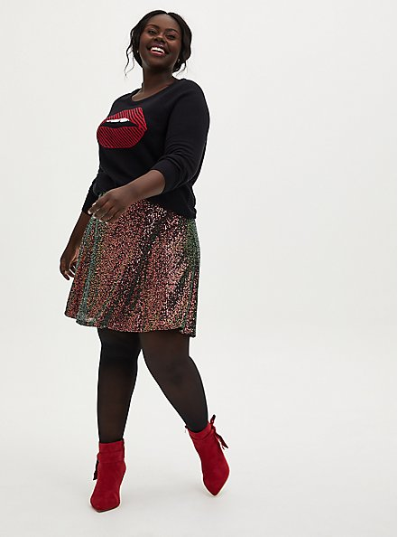 Multi Sequin Mini Skater Skirt, MULTI, alternate