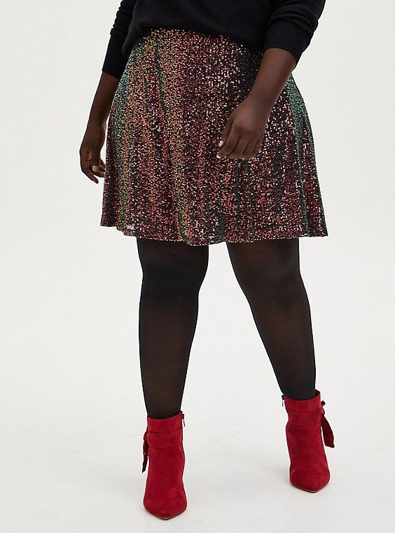 Multi Sequin Mini Skater Skirt, , hi-res