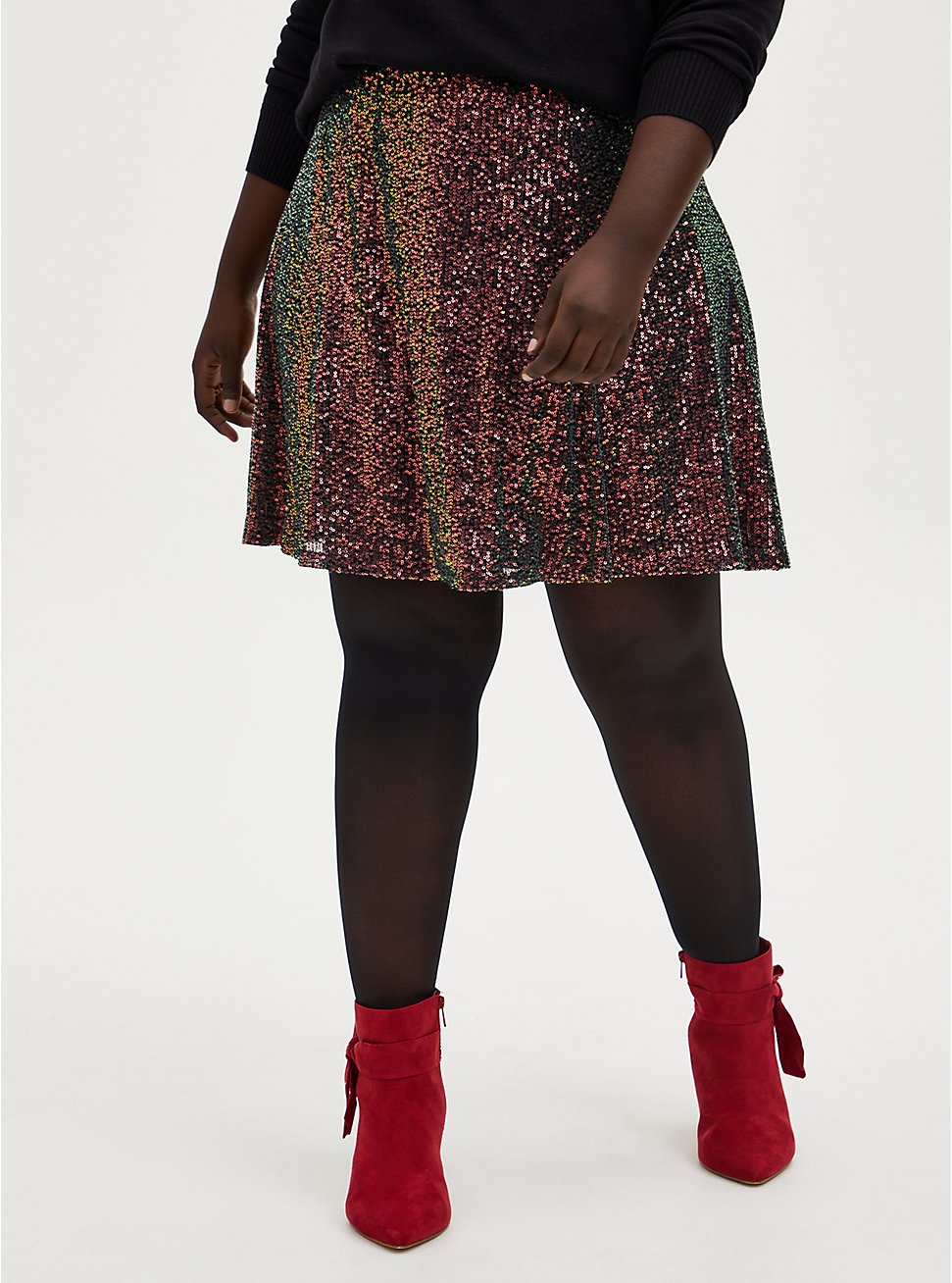 Multi Sequin Mini Skater Skirt, MULTI, hi-res