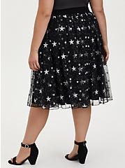 Plus Size  Black Silver Star Tulle Midi Skirt , STARS - BLACK, alternate