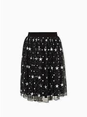 Plus Size  Black Silver Star Tulle Midi Skirt , STARS - BLACK, hi-res