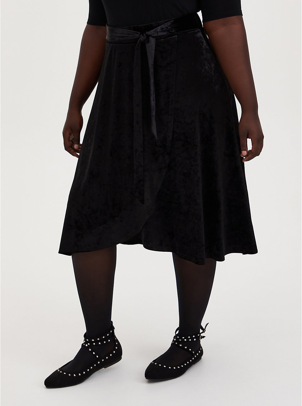 Black Crushed Velvet Wrap Midi Skirt, DEEP BLACK, hi-res