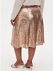 Gold Sequin Midi Skirt, CHAMPANGE METALLIC, alternate