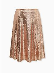 Gold Sequin Midi Skirt, CHAMPANGE METALLIC, hi-res