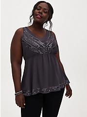 Dark Slate Grey Chiffon Embellished Stripe Peplum Top, NINE IRON, alternate
