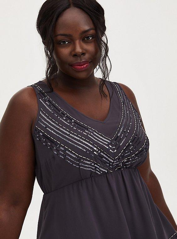 Dark Slate Grey Chiffon Embellished Stripe Peplum Top, , hi-res