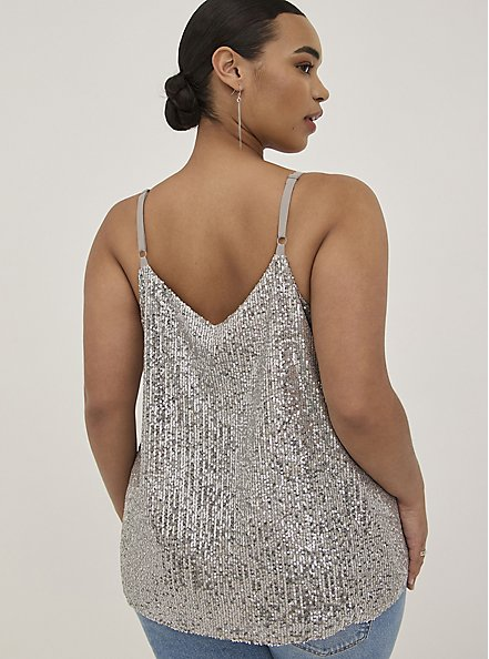 Sophie - Silver Sequined Swing Cami, SILVER, alternate