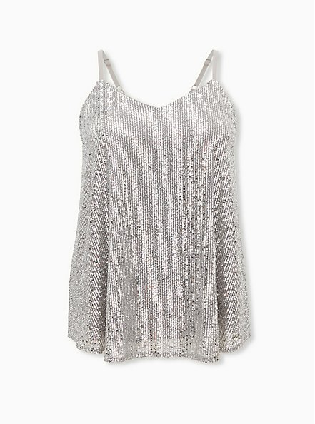 Sophie - Silver Sequined Swing Cami, SILVER, hi-res