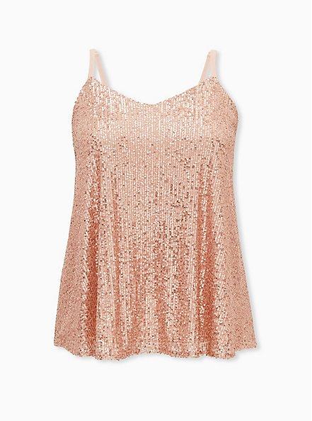 Sophie - Rose Gold Sequined Swing Cami, ROSE GOLD, hi-res