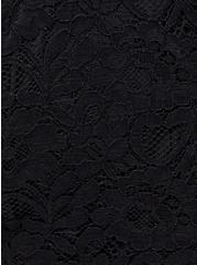 Black Lace High Neck Peplum Top, DEEP BLACK, alternate