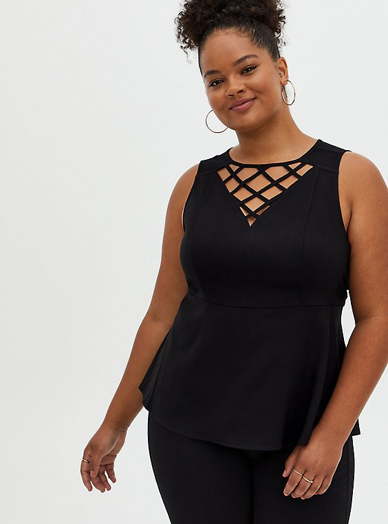 Black Stretch Crepe Cage Peplum Top, DEEP BLACK, hi-res