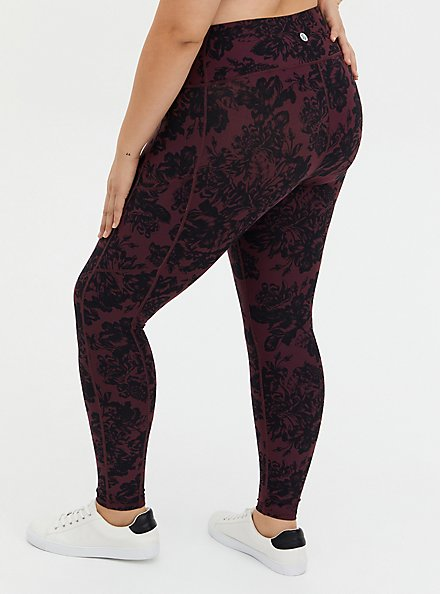 Red & Black Floral Wicking Full Length Active Legging, FLORALS-RED, alternate