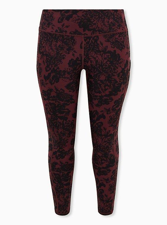 Red & Black Floral Wicking Full Length Active Legging, , flat