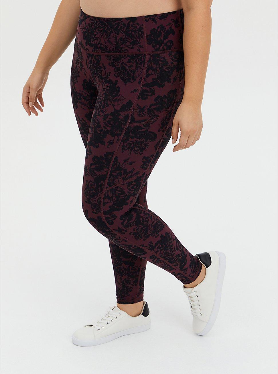 Red & Black Floral Wicking Full Length Active Legging, FLORALS-RED, hi-res
