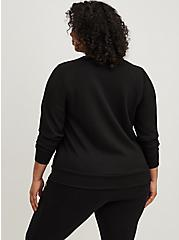Plus Size Black Cupro Active Sweatshirt, BLACK, alternate