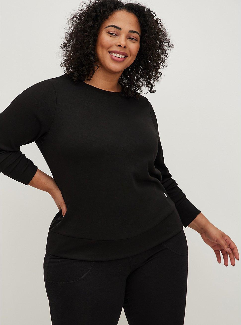Plus Size Black Cupro Active Sweatshirt, BLACK, hi-res