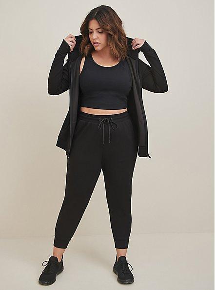 Plus Size Black Cupro Active Zip Hoodie, BLACK, alternate
