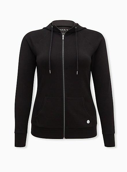 Plus Size Black Cupro Active Zip Hoodie, BLACK, hi-res