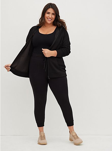 Black Cupro Active Zip Hoodie, BLACK, hi-res