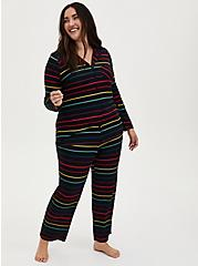 Super Soft Black & Rainbow Stripe Sleep Shirt, MULTI, alternate