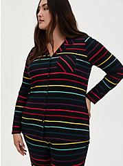 Super Soft Black & Rainbow Stripe Sleep Shirt, MULTI, hi-res