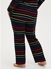 Super Soft Black & Rainbow Stripe Drawstring Sleep Pant, MULTI, alternate