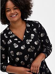 Super Soft Black & Metallic Skull Sleep Shirt, MULTI, alternate