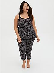 Super Soft Black & Red Leopard Lace Trim Sleep Tank, MULTI, alternate