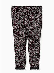 Super Soft Black & Red Leopard Lace Trim Crop Sleep Pant, MULTI, hi-res
