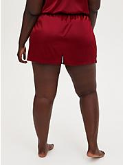 Red Lace Satin Sleep Short, RED, alternate