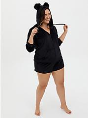Black Bear Micro Polar Fleece Sleep Zip Hoodie, DEEP BLACK, alternate